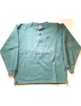 Vintage Champion Crewneck Sweatshirt Box Logo Spell Out With Buttons Size L by Champion