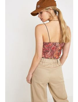 Uo Leopard + Floral Print Mesh Cami by Urban Outfitters