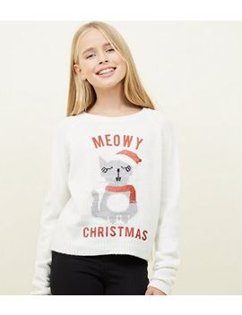 Girls Cream Meowy Christmas Jumper by New Look