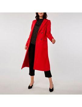 Dorothy Perkins   Red Longline Coat by Dorothy Perkins