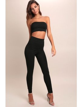 Black Basic Ribbed High Waist Leggings by I Saw It First