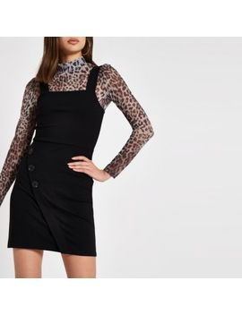 Black Button Side Pinafore Mini Dress by River Island