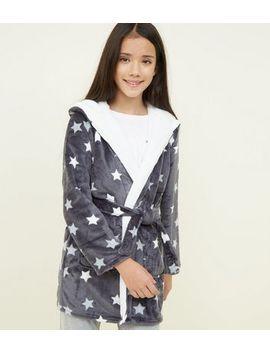 Girls Dark Grey Star Print Fluffy Hooded Robe by New Look