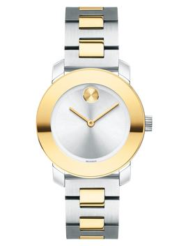 Bold Iconic Two Tone Bracelet Watch, 30mm by Movado