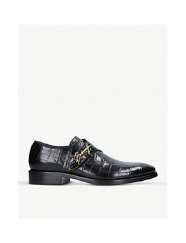 Logo Detail Croc Embossed Leather Monk Shoes by Balenciaga