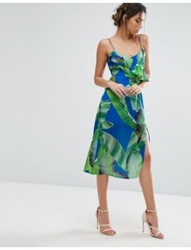 Every Cloud Palm Print Strappy Midi Dress With Thigh Split by Every Cloud