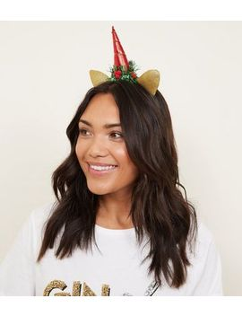 Multicoloured Unicorn Tinsel Christmas Headband by New Look