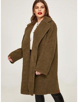 Plus Plain Teddy Coat by Shein