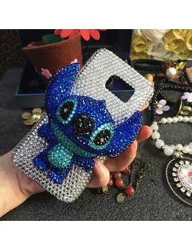 Bling New Sparkles Luxury Sapphire Blue 3 D Stitch Charms Gems Crystals Rhinestones Diamonds Fashion Lovely Hard Cover Case For Mobile Phones by Etsy