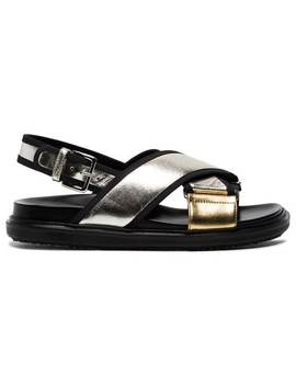Silver Gold Fusbett Leather Sandals by Marni