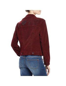Women's Velvet Studded Jacket (Bordeaux) by Ev1 From Ellen De Generes