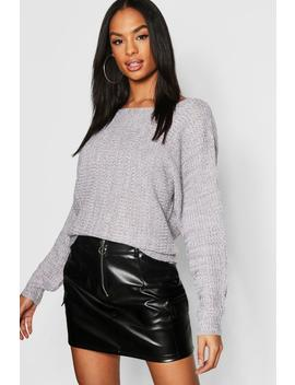 Tall Rib Batwing Jumper by Boohoo