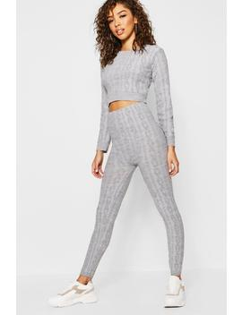Crew Neck Cable Knit Set by Boohoo
