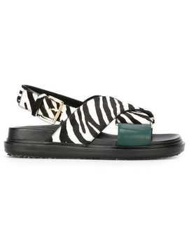 Zebra Print Fussbett Pony Leather Sandals by Marni