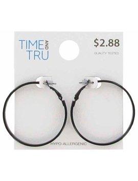 Black Glitter Hoop Earring by Time & Tru