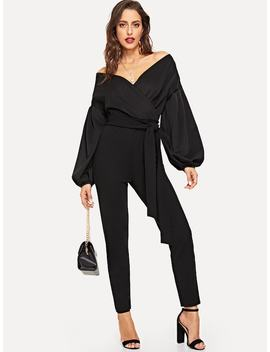 Bishop Sleeve Belted Wrap Jumpsuit by Shein