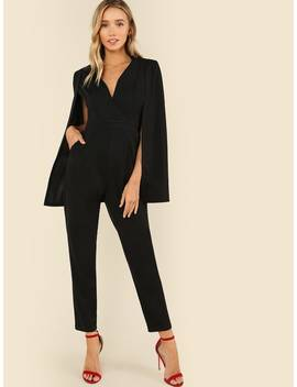 Plunging Neck Cloak Sleeve Solid Jumpsuit by Shein