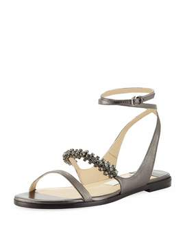 Abira Metallic Leather Jeweled Sandals by Jimmy Choo