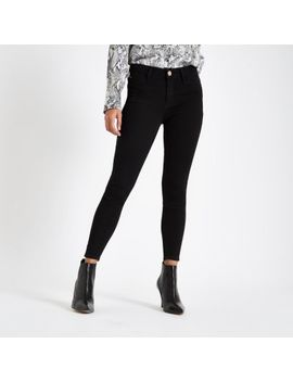 Petite Black Mid Rise Molly Jeggings by River Island