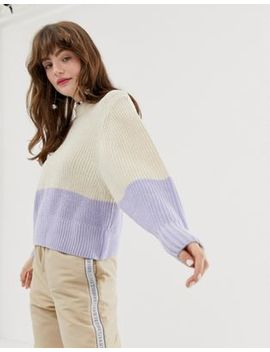 Monki Color Block Knitted Sweater In White And Lilac by Monki