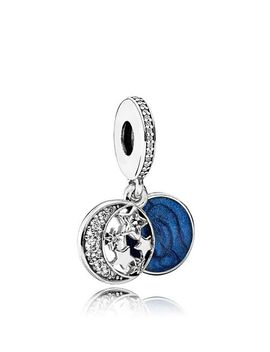 Moments Collection Sterling Silver, Blue Enamel & Cubic Zirconia Vintage Night Dangle Charm by Pandora