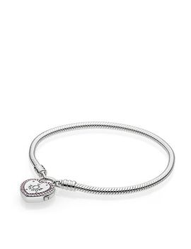 Sterling Silver & Cubic Zirconia Lock Your Promise Snake Chain Bracelet by Pandora