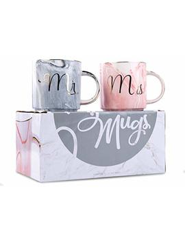 Mr. & Mrs. Coffee Mug Set   Ceramic Wedding, Cute, Elegant, Funny Couples Gift   Marble With Gold Cursive Text by Gsm Brands