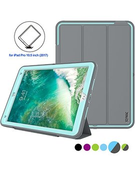 Seymac Stock I Pad Pro 10.5 Inch Case, [Hybrid Shockproof Protection] Leather Case,Smart Cover With Auto Sleep/Wake Function For Apple I Pad Pro 10.5 Inch 2017(A1701,A1709) (Gray/Light Blue) by Seymac Stock