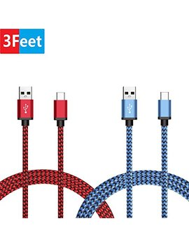 Nintendo Switch Charger Cable, Bene Stellar 2 Pack 3ft / 0.9m Type C Usb 3.1 Nylon Braided Cord For Samsung Galaxy S9 / S9 Plus / S8 / S8 Plus / Note 8, Lg V20, Google Pixel And More (Red & Blue) by Bene Stellar