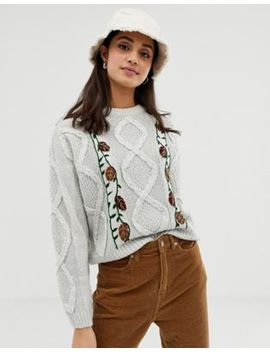 Pull&Bear Floral Knitted Sweater In Gray by Pull&Bear