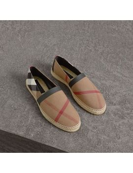 Check Cotton Canvas Seam Sealed Espadrilles by Burberry
