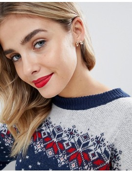 Asos Design Holidays Pack Of 2 Earrings In Reindeer And Bow Design by Asos Design