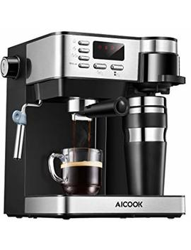 Aicook Espresso And Coffee Machine, 3 In 1 Combination 15 Bar Espresso Machine And Single Serve Coffee Maker With Coffee Mug, Milk Frother For Cappuccino And Latte, Black by Aicook