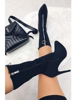 Nancy Black Lycra Zip Heeled Sock Boots by Misspap