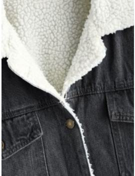 Drop Shoulder Fleece Denim Jacket   Black S by Zaful