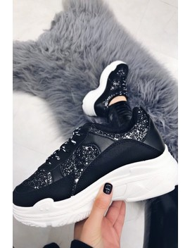 Lily Black Glitter Panel Trainer by Misspap