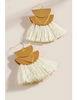 Mercedes Crescent Fan Tassel Earrings by Francesca's