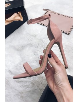 Natalie Blush Suede Barely There Heels by Misspap