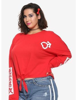 Sailor Moon Sailor Mars Tie Front Girls Long Sleeved T Shirt Plus Size Hot Topic Exclusive by Hot Topic