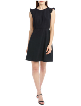 Textured Fit And Flare Party Dress by Tokito