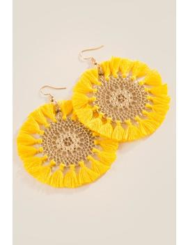 Jen Filigree Circle Tassel Earrings by Francesca's