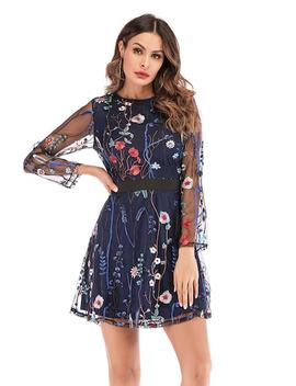 Embroidery Mesh Overlay Dress by Sheinside