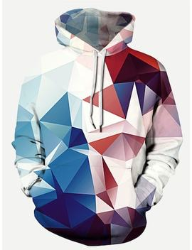 Men Abstract Geo Print Hooded Sweatshirt by Sheinside