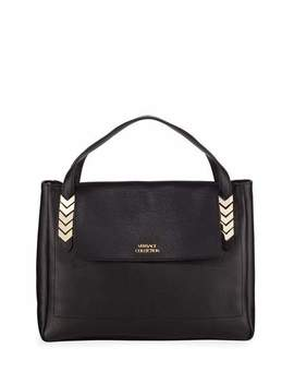 V Handle Leather Shoulder Bag by Versace Collection