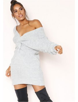 April Grey Knit Knot Detail Jumper Dress by Missy Empire