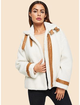 Contrast Faux Leather Detail Teddy Jacket by Shein
