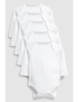 White Long Sleeve Bodysuits Five Pack (0mths 3yrs) by Next