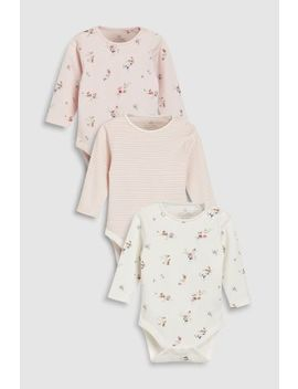 Ecru/Pink Delicate Floral Long Sleeve Bodysuits Three Pack (0mths 2yrs) by Next