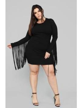 Rain On My Parade Fringe Dress   Black by Fashion Nova
