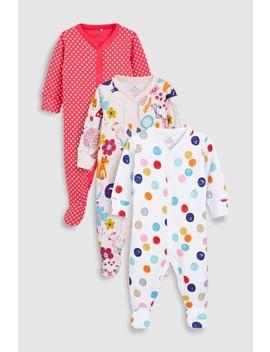 Pink/Ecru Animal Spot Sleepsuits Three Pack (0mths 2yrs) by Next
